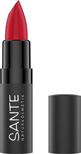 SANTE Naturkosmetik Matte Lipstick 07 Kiss-Me Red, Lippenstift, Matt-Effekt, Mit Bio-Kakaobutter, Intensive Farbpigmentierung, 4,5g
