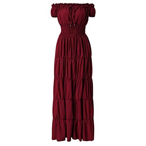 RYTEJFES Victorian Gothic Dress Nightgown Ladies Medieval Renaissance Costume Halloween Cosplay Kostüm Maxikleid Sexy Trägerlose Schulter Abendkleid