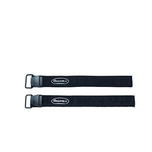 Therm-ic Velcro Strap Pair - Fijaciones de esquí Alpino para batería, Color Negro, Talla única