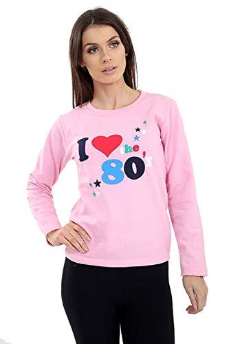 Women's I Loveheart the 80s Pink Sweatshirt, Sizes 8 to 18