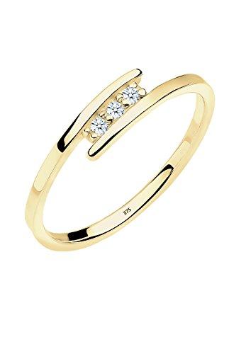 DIAMORE Ring Damen Verlobungsring Trio mit Diamant (0.06 ct.) in 375 Gelbgold