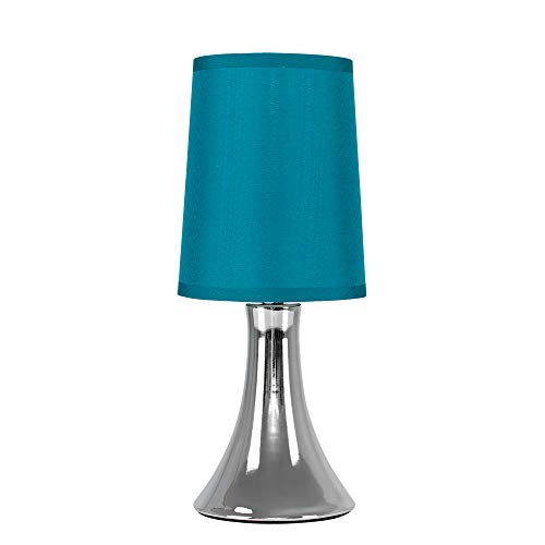 Small Modern Chrome Touch Table Lamp with a Teal Fabric Shade - Complete with a 5w LED Dimmable Candle Bulb [3000K Warm White]