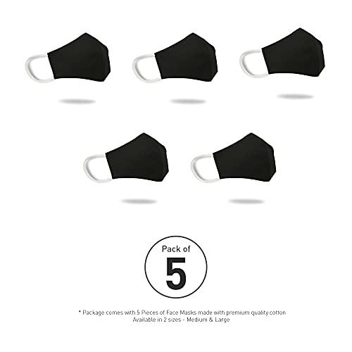 TRIDENT Solid Mascarilla facial mediana de algodón 2 capas 5 piezas Reutilizable Anti-polvo Protección UV Mascarilla facial Unisex Moda Cubierta facial lavable (Ébano)