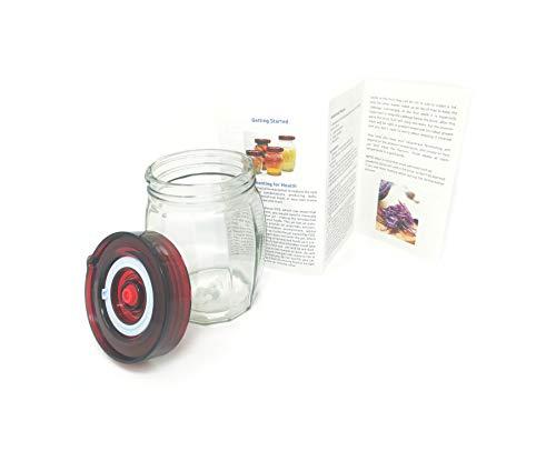 Gärglas mit Einweg-Luftablassventil Easy Open Wide Mouth Deckel und Silikondichtung - Ideal für Sauerkraut und Kimchi (0,96 Liter)