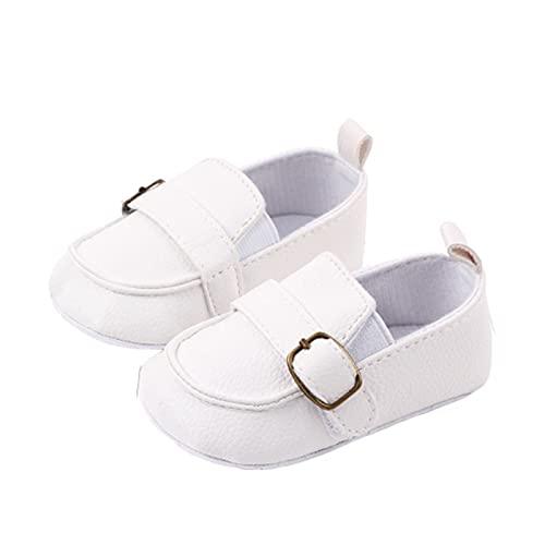 FURONGWANG6777BB Zapatos de piel sintética para recién nacido, para bebé, niña, niño, parte inferior suave, para primer caminante, color blanco, tamaño: 12 – 18 meses)
