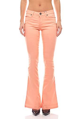 AJC Bootcut Jeans Hose Sommer-Hose Skinny Damen Pfirsichfarben, Größe:38