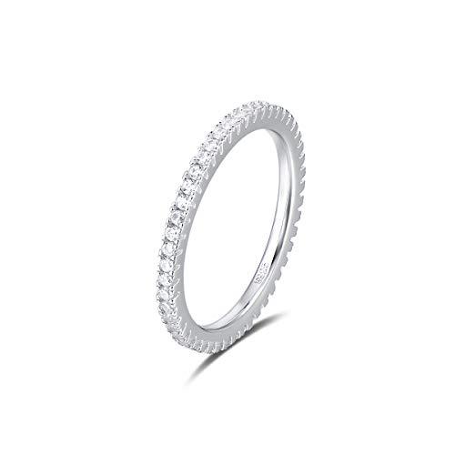 Quiges Dames Ring Klassiek van 925 Zilver met Zirkonia Stenen 16.5mm