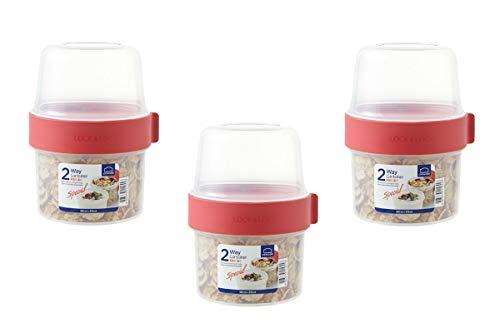 LOCK & LOCK Two-Way Müsli-to-go-Becher aus Kunststoff – 3er Vorratsdosen Set – Kleine Lunchbox mit Schraubdeckel und Zwei Behältern – 360 ml & 310 ml