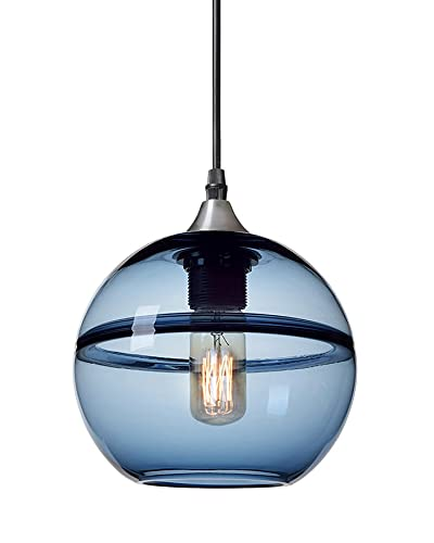 Blue Glass Drop Hanging Lamp