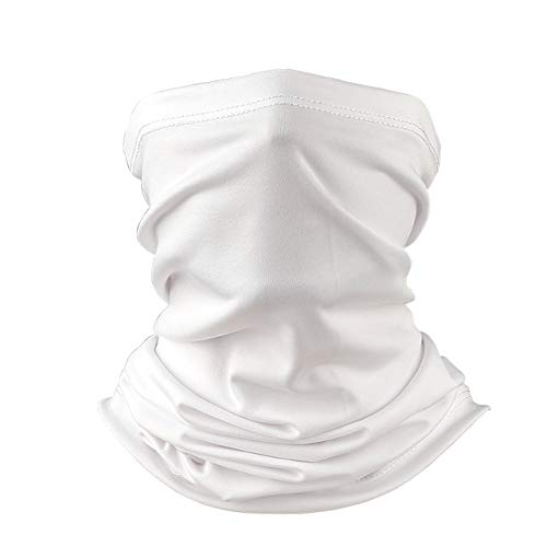 Cool Lightweight UV Neck Gaiter/Balaclava/Face Mask for Running, Fishing, Sun Protection (White)