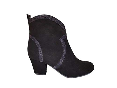 Belleza Cowboy-laarzen voor dames, van leer, met lage hak en ritssluiting, antislip zool, suède en gegraveerde slang, zwart