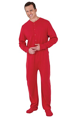 PajamaGram Mens Onesie Pajamas Cotton - Christmas Union Suit, Dropseat, Red, XXL
