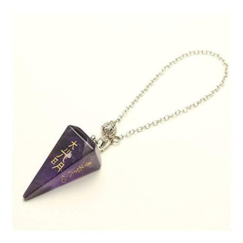 FKJSP Natural Obsidiana Símbolo Talla pirámide de Piedra péndulo for la Herramienta de Pendulo Cristal de Cuarzo Amuleto Collar (Metal Color : Amethyst)