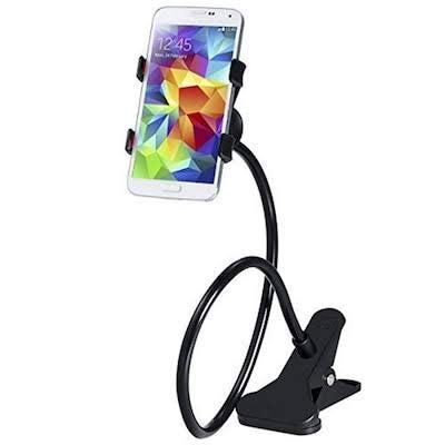 SBA Mobile Stand Holder Metal -Cell Phone Stand Perfect for Video Table Online Class |Home| Bed|Bike|Movie|Office|Gift|Desktop| Foldable Lazy Bracket Clip Mount Multi Angle Clamp for All Smartphones