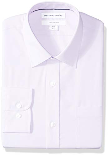 Amazon Essentials Men's Slim-Fit Wrinkle-Resistant Long-Sleeve Dress Shirt, Lavender, 18' Neck 34'-35'