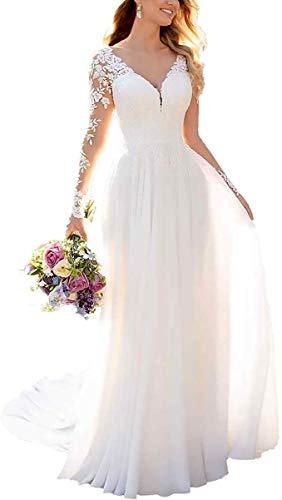 Dreammaking Damen Lange Hochzeitskleider Brautkleid A Linie Ballkleider Chiffon Spitze Abendkleider V-Ausschnitt Langarm Standesamt