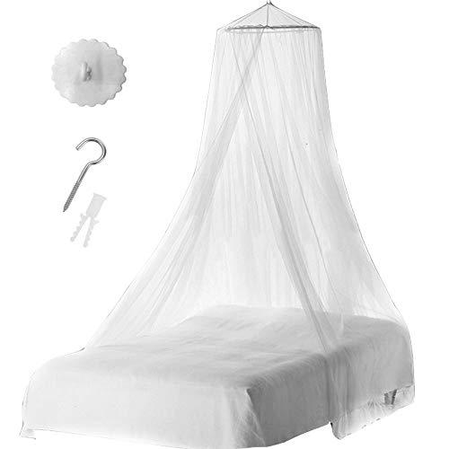 Nsiwem Moskitonetz Mückennetz weiß Betthimmel rund Bettvorhang Baldachin Groß Mückennetz inklusive Klebehaken 1 Eingang für Reise und Zuhause Doppelbett Einzelbett(1pcs)
