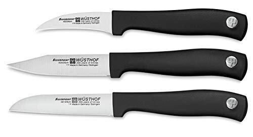 WÜSTHOF Gemüsemesser-Satz 3-teilig, Silverpoint (9352), 1 Schälmesser (6 cm Klinge), 2 Gemüsemesser (je 8 cm), Messer Set spülmaschinengeeignet