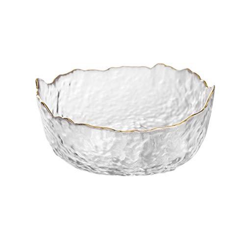OBR King - Ensaladera de vidrio con borde dorado para servir frutas y verduras (830 ml)
