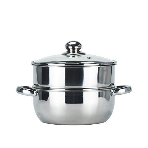 LILEER Stainless Steel Pan 2 Tier Steamer 24 cm Steaming Pot Cooking Pot Vegetable Steamer Glass Lid