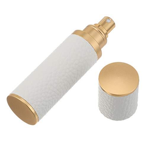 OSALADI Parfüm Flasche Leder Abdeckung 10Ml Mini Leere Nachfüllbare Spray Flasche Feinen Nebel Sprayer Flüssigkeit Dispenser für Ätherische Öle Kosmetik Reise Weiß