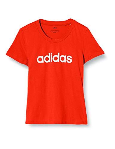 [アディダス] トレーニング W 半袖 リニア コットン Tシャツ(FRU56) レディース アクティブレッドS19/ホワイト (DU0631) 日本 J/M (日本サイズM相当)