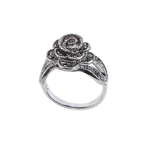 Pinhan - Anillo vintage con diseño de rosas, con diamantes de imitaci
