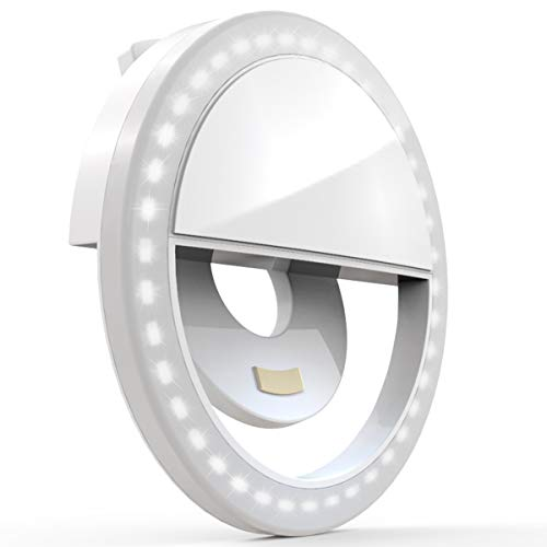 Auxiwa Clip on Selfie Ring Light [Rechargeable Battery] with 36 LED...