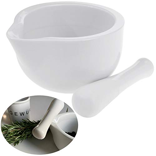 LS-LebenStil Keramik Gewürz-Mörser Weiß 10cm Stößel Tabletten-Mörser