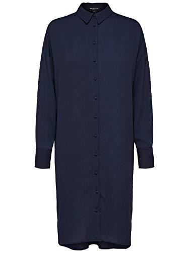 SELECTED FEMME Slfdorit Tonia LS Short Shirtdress B Vestido, Azul (Night Sky...