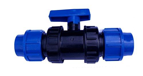 EXCOLO PE Rohr Kugelhahn 20 bis 40 mm Kunststoff Hahn Absperrhahn Sperrschieber Kugelventil Ventil 2 Wege (Für 25 mm PE Rohr)