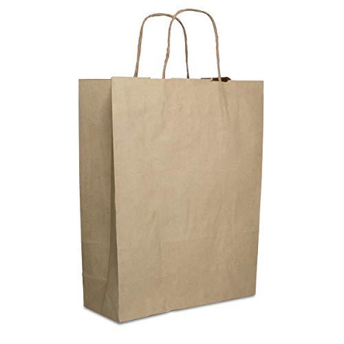 Sacchetti di carta con manico, 10 pezzi, marrone, 26 x 34 x 10 cm, sacchetti di carta kraft per compleanni, matrimoni, spesa, da dipingere, da regalare