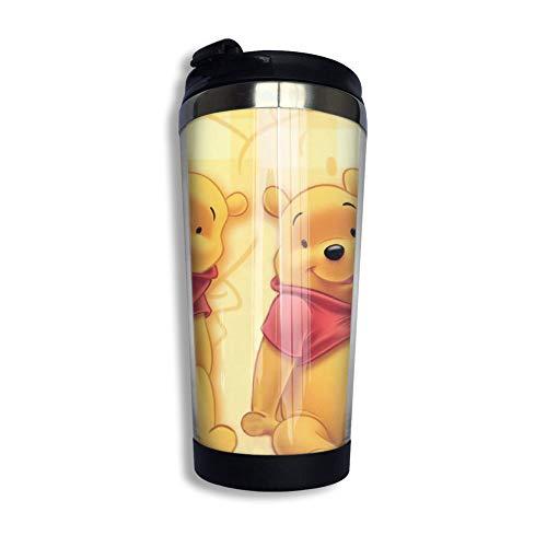 Lawenp Wi-nni-e P-o-o-h Honig-Kaffeetasse mit Klappdeckel Regenbogen Edelstahl Becher Tasse Wasserflasche lustige Tasse für Männer Frauen Freunde