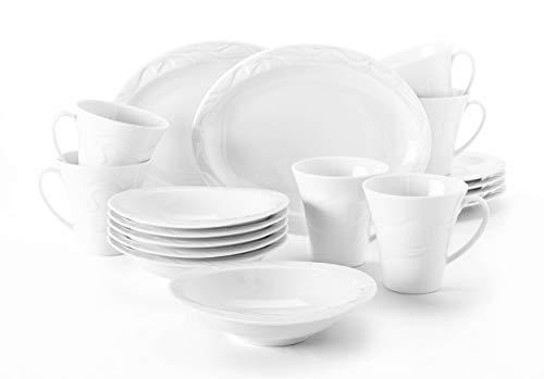 Seltmann Weiden Frühstückset 18-teilig oval weiß | Set für bis zu 6 Personen | Serie Allegro | beinhaltet je 6 Frühstücksteller, Becher und Dessertschalen, Hartporzellan