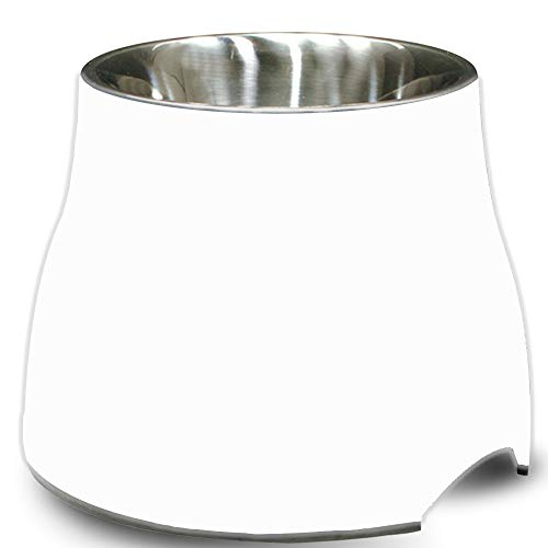 Dogit Elevated Dog Bowl, Stainless Steel Dog Food and Water Bowl for Small Dogs, White, 73745