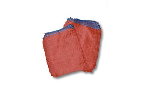 1 Pack (100 Stück) 2,5 kg Größe 28x36 cm Gemüsesäcke Raschelsäcke Obstsäcke Netzsäcke Zwiebelsäcke Holzsäcke Brennholzsäcke Säcke aus Raschelgewebe Säcke mit Zugband rot