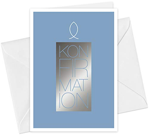 FRUITPRINTS CherryCards - 20er Set Einladungskarten & Umschläge - Konfirmation Kerze & Fisch - Klappkarten Format A6 - mit Heißfolienprägung (Silber)
