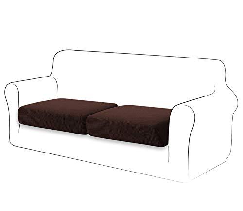 TIANSHU Stretch soffa kuddfodral för 2 kuddar soffa möbelskydd soffa säte soffa överdrag soffa överdrag mjuk flexibilitet med elastisk botten soffa 2-sits kuddöverdrag (2 delar, choklad)