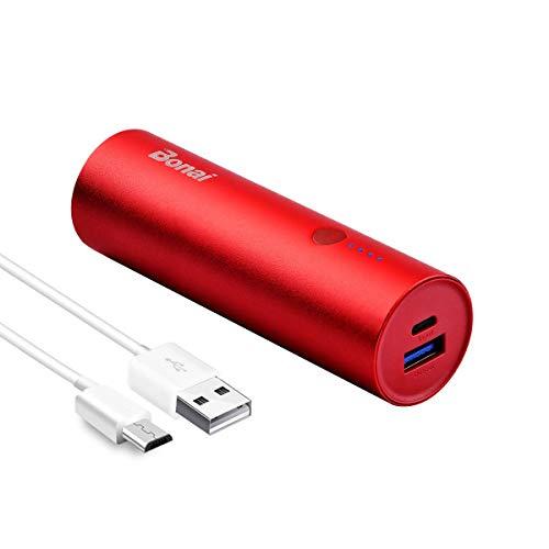 BONAI Power Bank Slim 5800mAh, Batteria Esterna Caricabatterie Portatile Ultracompatta per iPhone X/8/7/6s/6/SE,iPod,Samsung Galaxy,Huawei e Altro-Rosso (Micro Cable is Included)