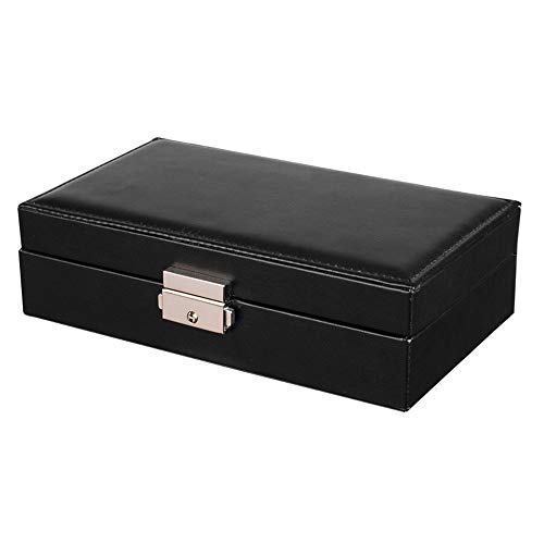 joyero,Caja de almacenamiento de joyería de cuero, caja de almacenamiento de joyería de múltiples compartimentos con tapa abatible-negro