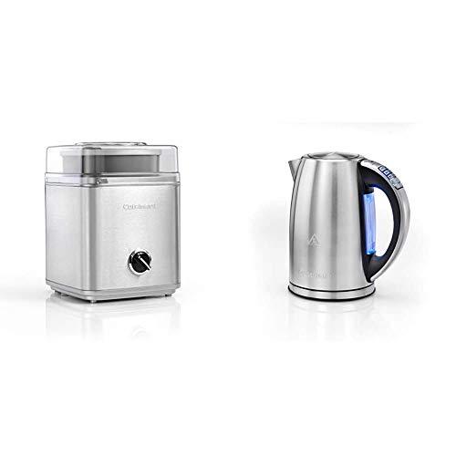 Cuisinart ICE30BCE Eismaschine (25 watt, 2 Liter) anthrazit & CPK18E Wasserkocher (2750 Watt, 1,7 Liter) metallic