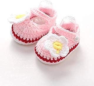 [hfeweng] 赤ちゃん靴 羊毛 ファーストシューズ メリヤス編み セーター質感 女の子 男の子 お花 デイジー 蝶結び サンダル やわらかい 足保護 歩行練習 履き心地いい 出産お祝いプレゼント ギフト ベビーシューズ