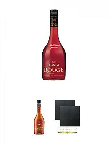 Chantrè Cuvee Rouge 0,7 Liter + Chantrè CARAMEL 0,7 Liter + Schiefer Glasuntersetzer eckig ca. 9,5 cm Ø 2 Stück