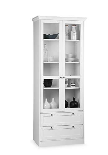 Newfurn Vitrine Vitrinenschrank Landhaus Holzvitrine II 80x200x 45 cm (BxHxT) II [Marlo.Fifteen] in weiß/Weiß Wohnzimmer Schlafzimmer Esszimmer Flur Diele