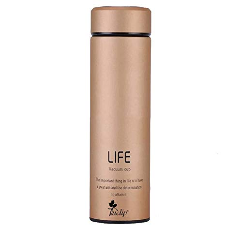 Stainless Steel Double Wall Vacuum Insulated Flask, Water Bottle, Travel Thermos Tumbler with Hot and Cold for 12 Hours, 500ml (Gold)