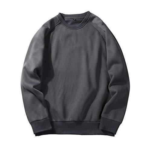 UJUNAOR Herren Langarm Hoodie T-Shirt Kapuzenshirt Mit Kapuze Männer Pullover in Vielen Farben (L, T-Dunkelgrau)