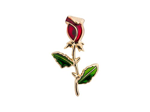 Knighthood Red Rose Stem with Green Leaves Lapel Pin Golden Badge Coat Suit Wedding Gift Party Shirt Collar Accessories Brooch for Men