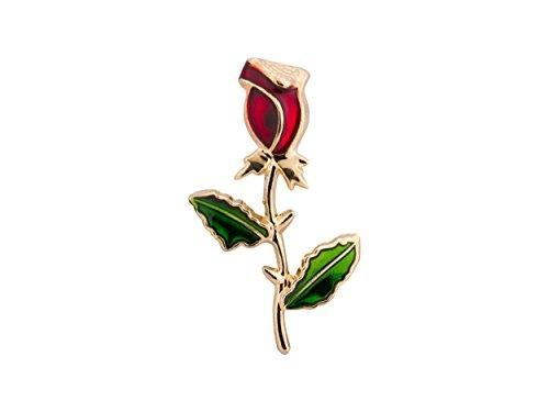 Knighthood Herren Red Rose Stem mit grünen Blättern Revers Pin Brosche Golden Herren Brosche/Reversnadel/Lapel Pin/Anzug/Sakko