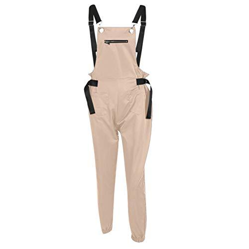 Ansenesna Latzhose Damen Lang Mit Taschen Elegant Overall Frauen Einfarbig Casual Jumpsuit