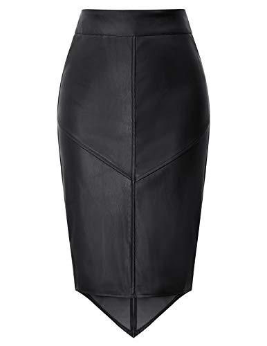 GRACE KARIN Falda Mujer Falda Tubo Cuero con Espalda Cruzada Billetera Cintura Ajuste para el Trabajo Negro S DECL0025-1